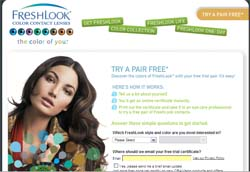 Free Pair of Freshlook Color Contacts by CIBA Vision Certificate