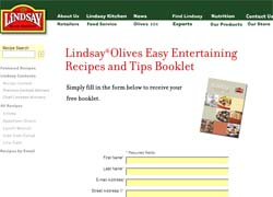Free Lindsay Olives Easy Entertaining and Recipe Booklet