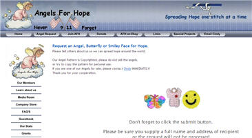 Request an Angel, Butterfly or Smiley Face for Hope.