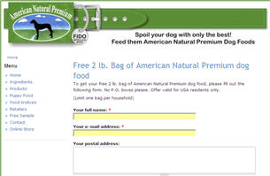Free 2 lb. Bag of American Natural Premium Dog Food