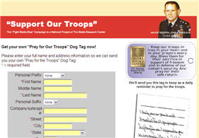 Free Pray for Our Troops Dogtag