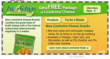 Free Package of Kraft LiveActive Cheese Snacks