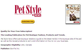 Free Subscription to Pet Style Pet Boutique