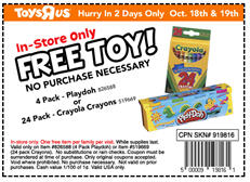Free Coupon for Crayons or Playdoh at Toys R Us