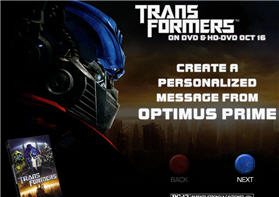 Free Personalized Phone or Email Message from Optimus Prime