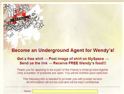 Free Wendy's Food and Tee Shirt Become An Underground Agent
