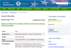 Free Sesame Street Fire Safety Free Audio Cassette