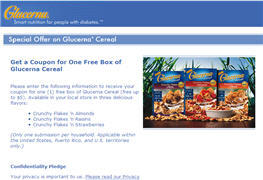 Free Coupon for a Box of Glucerna Cereal