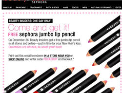 Free Jumbo Lip Pencil at Sephora on Dec 26