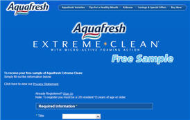 Free Sample of Aquafresh Extreme Clean
