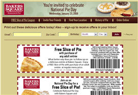 Free Slice of Pie at Bakers Square on 1/23