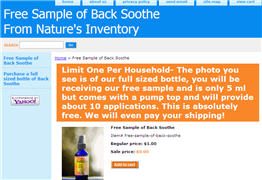 Free Sample of Back Soothe From Nature's Inventory