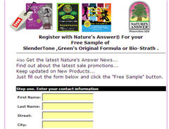 Free Sample of SlenderTone Green's Original Formula