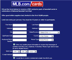 Free Exclusive Pack of Baseball Cards