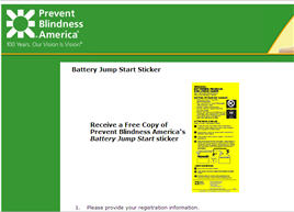 Free Prevent Blindness America's Battery Jump Start sticker