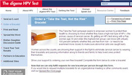 Free Take the Test, Not the Risk HPV Bracelet