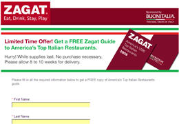 Free Zagat Guide to America's Top Italian Restaurants