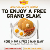 Free Dennys Grand Slam Breakfast on Tuesday from 6am-2pm