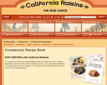 Free California Raisin Recipe Brochure