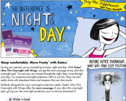 Free Kotex Ultra Thin Overnight with Wings Sample