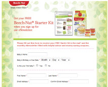 Free Beech Nut Baby Food Starter Kit