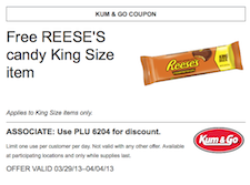 Free Reese's King Size Candy Coupon at Kum & Go