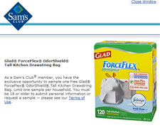 Free Glad ForceFlex Trash Bag Sample for Sam's Club Members