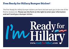 Free Im Ready for Hillary Sticker