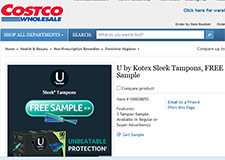 Free Sample U by Kotex Sleek Tampons