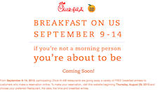 Free Chic-A-Fila Breakfast Entrees 9/9 - 9/14