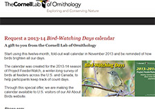 Free 2013-14 Bird-Watching Days Calendar