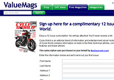 Free Cycle World Magazine Subscription