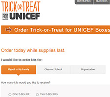Free Trick-or-Treat for UNICEF Boxes