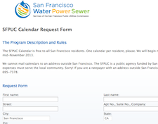 Free San Francisco Water Power Sewer Calendar - Residents Only