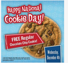Free Regular Chocolate Chip Cookie on Wednesday 12/4 From Great American Cookies