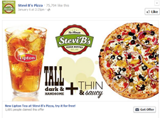 Free New Lipton Tea at Stevi B's Pizza