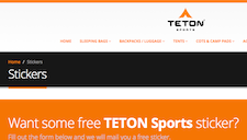 Free Teton Sports Stickers